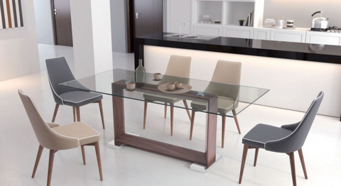 "79"" Glass Conference Table or Desk with Squared Walnut Frame"