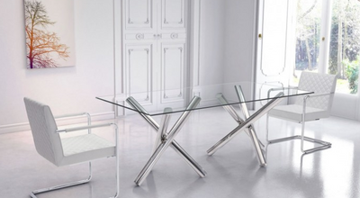 "Clear Glass & Stainless Steel 79"" Modern Desk / Conference Table"