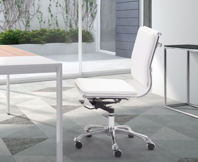 Modern White Leather U0026 Chrome Armless Office Or Conference Chair