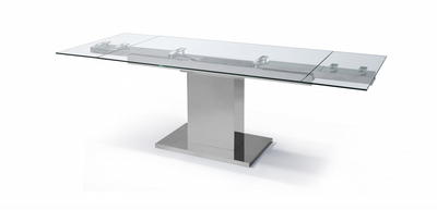"Modern Glass & Stainless Steel Executive Desk or Conference Table (Extends from 55"" to 83"" W)"