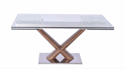 "Modern Glass & Walnut Conference Table or Desk (Extends from 67"" W to 102"" W)"