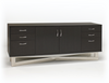 "Sleek 75"" Executive Office Desk in Glossy Gray Oak Finish"