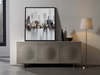 "71"" High Gloss Gray Lacquer Credenza"
