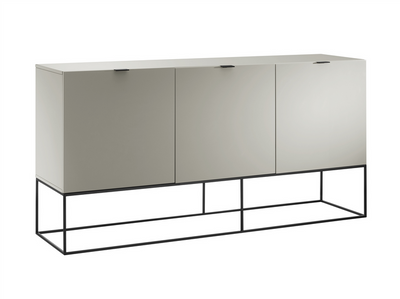 "High Gloss Gray Lacquer 71"" Credenza with Black Base"