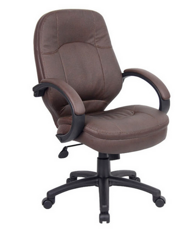 Executive Leather Chair with Padded Armrests in Brown or Black