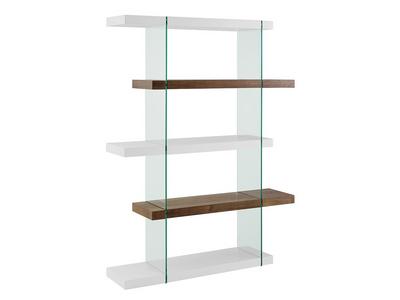 5-Shelf Sophisticated White Gloss, Walnut, & Glass Bookcase