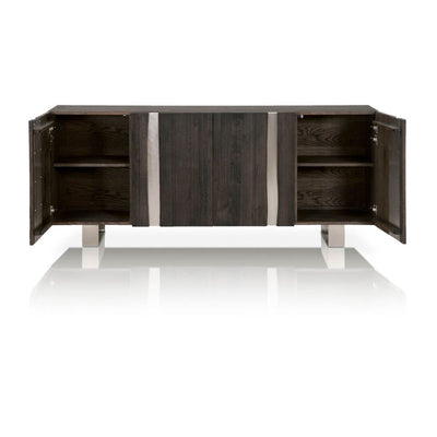 Gorgeous Charcoal Brushed Oak Storage Credenza