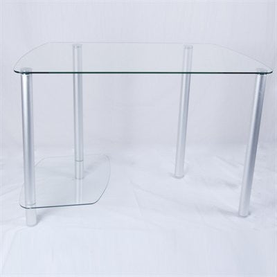 Clear Glass & Aluminum Computer Desk with CPU Stand