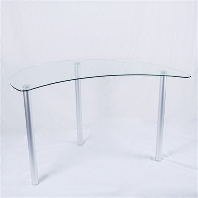 Clear Glass & Aluminum Base Crescent Corner Desk