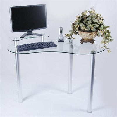 Clear Glass Corner Desk With Monitor Stand Amp Optional