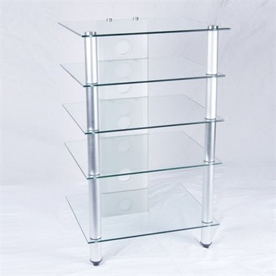 Clear Glass Corner Desk with Monitor Stand & Optional Stand