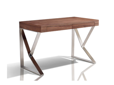 "Walnut 47"" Modern Desk with Two Drawers and Stainless Steel Legs"