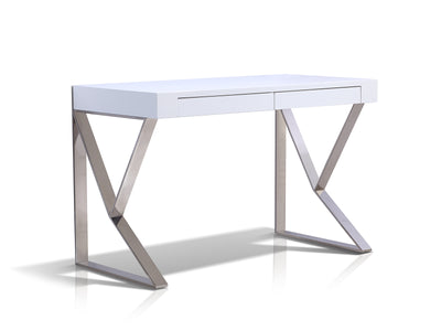 "White Lacquer 47"" Modern Desk with Two Drawers and Stainless Steel Legs"