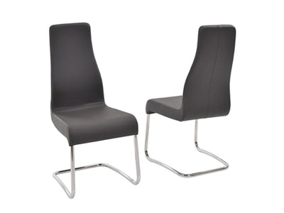 Gray Italian Leather & Chrome Guest or Conference Chair (Set of 2)