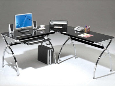 Black Glass L-Desk with Chrome Frame