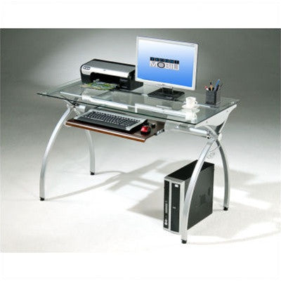 Tempered Glass Workstation with Mahogany Keyboard Trim