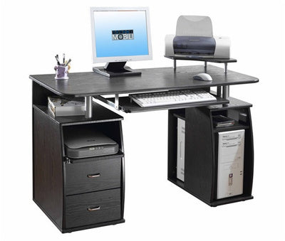 Compact Workstation with Storage and Optional Printer Stand in Espresso