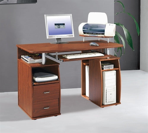 Compact Workstation With Storage In Mahogany