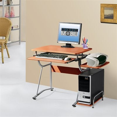 Compact Cherry Workstation with Silver Steel Frame