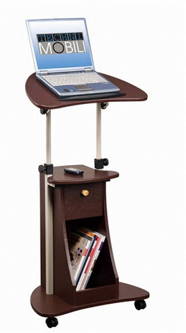 Modern Chocolate Mobile Laptop Stand with Storage