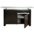 "59"" Black Walnut and Aluminum Storage Credenza with Clear Crackled Glass Top"