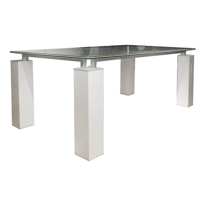 "75"" White High Gloss Desk or Conference Table with Clear Glass Top"