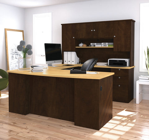 manhattan collection ushaped desk in chocolate u0026 maple with hutch included