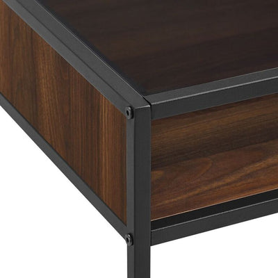 "42"" Metal and Dark Walnut Writing Desk & Glass Top"