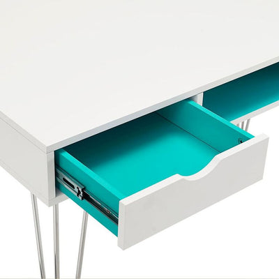 "Sleek 48"" Modern White Office Desk with Aqua Blue Accents"