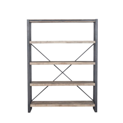 "Modern 75"" Solid Acacia Bookcase with 4 shelves"
