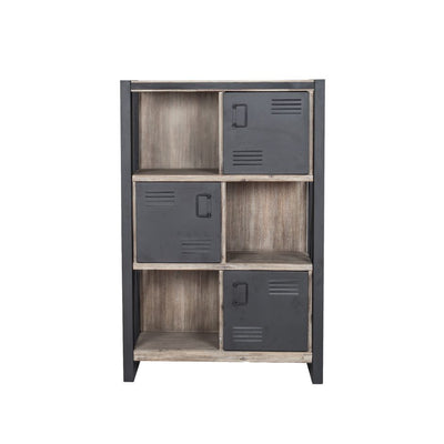 "Contemporary 55"" Tall Acacia Wood Bookshelf with Doors"