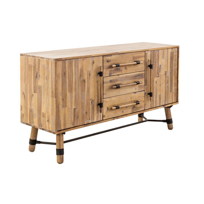 "Unique 60"" Solid Acacia Credenza with Three Drawers"