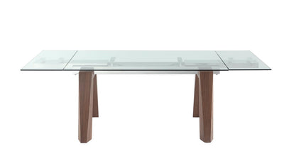 "Glass Conference Table / Desk with Thick Walnut Legs (Extends from 63"" W to 95"" W)"