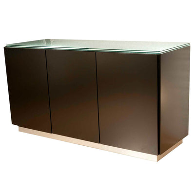 "Dark Walnut 60"" Storage Credenza With Glass Top"