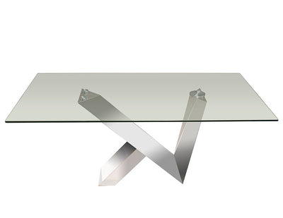 "72"" Uber Modern Glass Executive Desk with V-Shaped Chromed Steel Base"