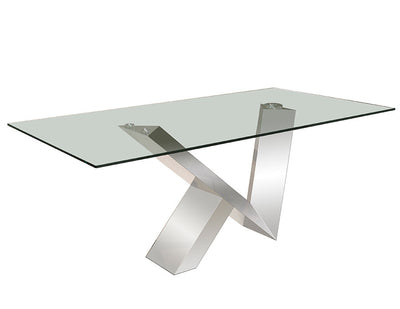 "72"" Modern Glass Executive Desk with V-Shaped Chromed Steel Base"