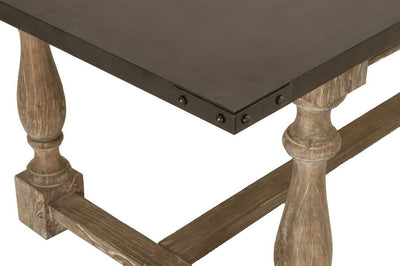 "87"" Driftwood and Zinc-Topped Conference Table"