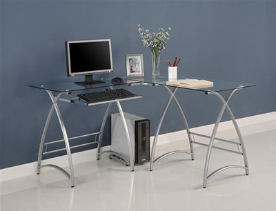 Sleek Silver Framed Clear Glass L-shaped Desk with Keyboard Tray