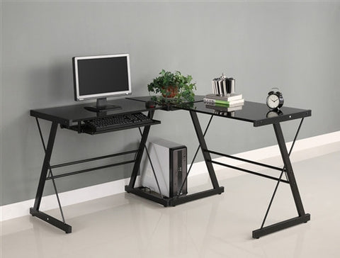 Black Glass L-shaped Desk with Steel Frame