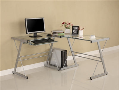 Contemporary L-shaped Glass Desk with Silver Steel Frame
