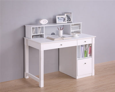Solid Wood Desk with Optional Hutch in White