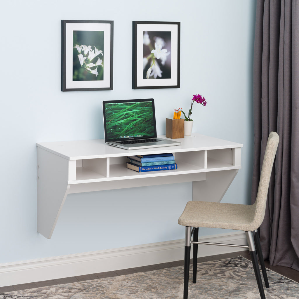 42 Quot Modern Floating Wall Mounted Desk In White