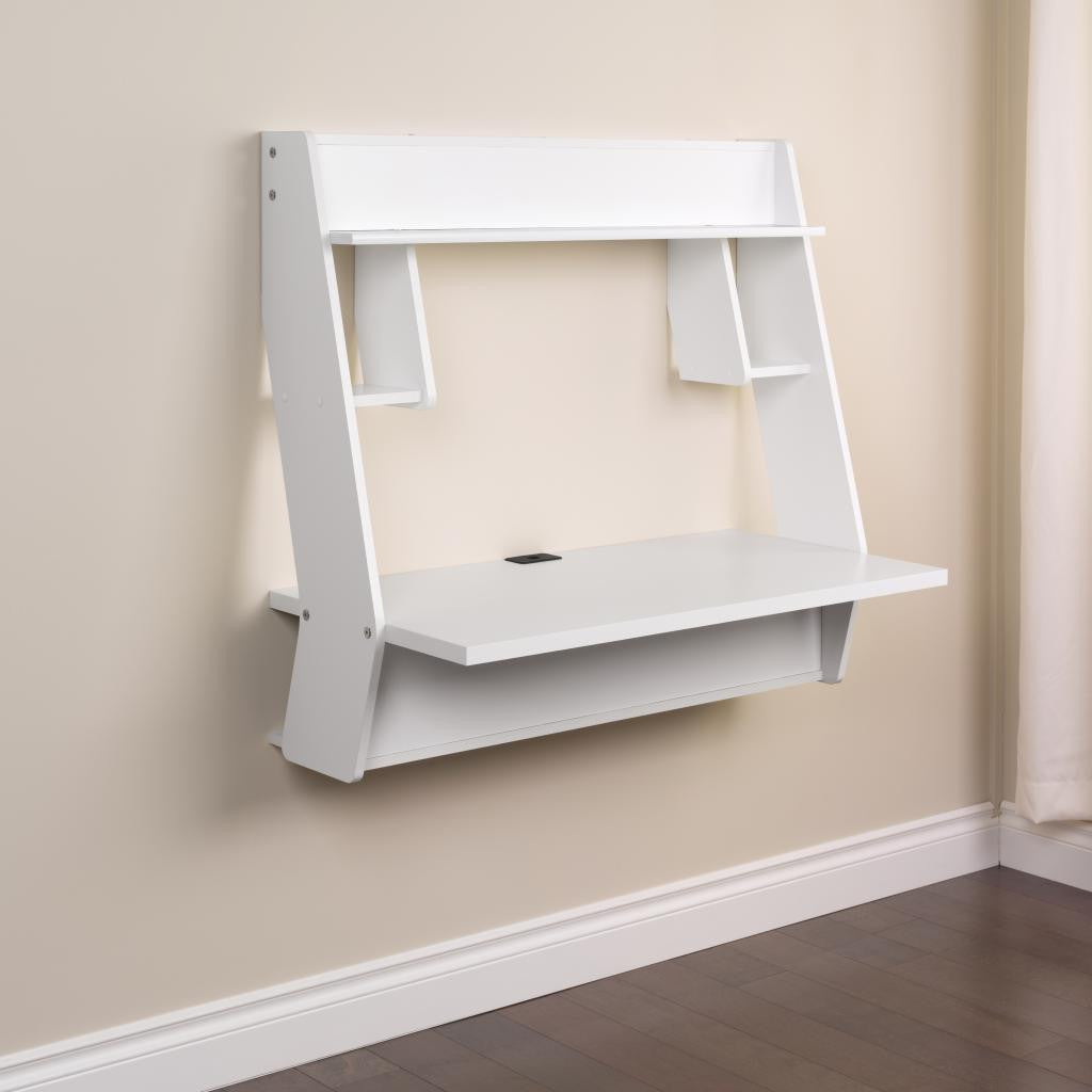 "White Modern 40"" Wall Mounted Floating Desk"