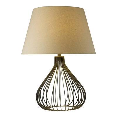 Metal Office Tabletop Lamp w/ Linen Shade
