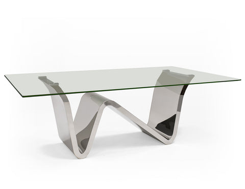 "84"" Modern Glass Executive Desk or Conference Table with Unique Chromed Stainless Base"