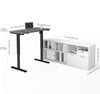 "48"" Bark Gray Standing Desk with White Credenza"