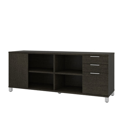 "71"" Deep Gray Storage Credenza with Shelving"