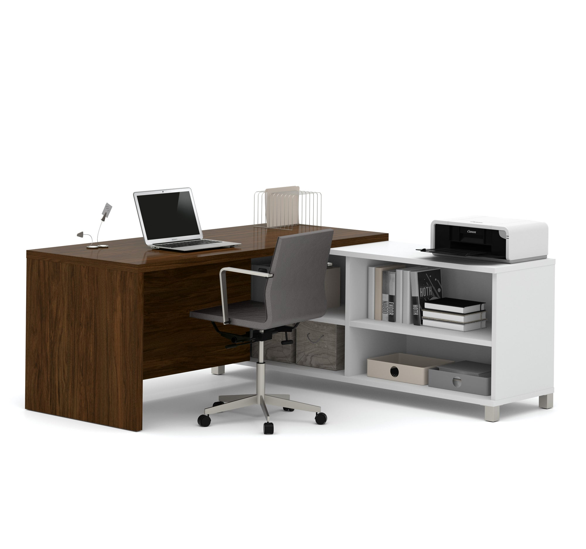 Modern L-Shaped Office Desk in Oak Barrel and White with Integrated Shelves