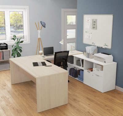 Modern U-Shaped Desk with Storage in Northern Maple & White