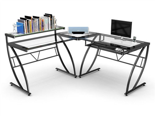 Clear Glass L-shaped Desk with Black Glass Border